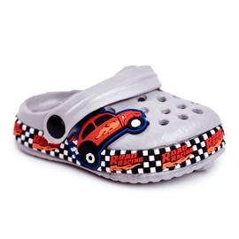 Giolan Klapki Dziecięce Piankowe Kroksy Szare Road Racing czerwone pomarańczowe