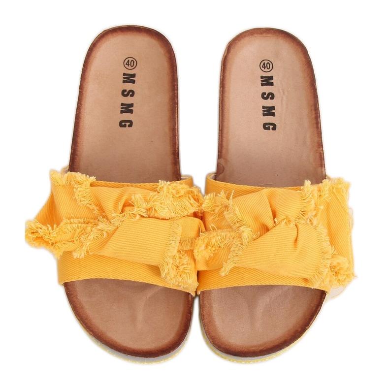 Klapki damskie miodowe WS9023 Yellow żółte