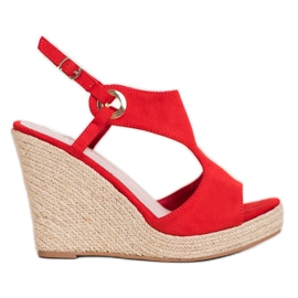Goodin Zabudowane Sandały Espadryle czerwone