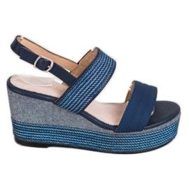Goodin Granatowe Sandały Na Koturnie niebieskie