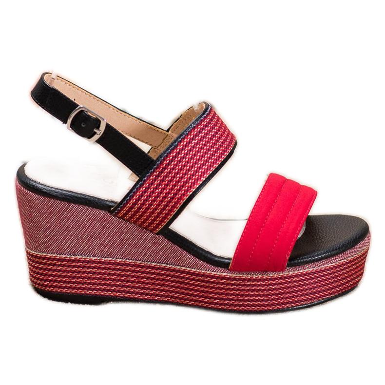 Goodin Czerwone Sandały Na Koturnie
