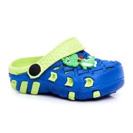 Klapki Dziecięce Piankowe Kroksy Granatowe Krokodyl Casper niebieskie żółte