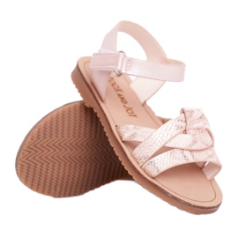 FRROCK Dziecięce Sandałki Na Rzepy Dla Dziewczynki Różowe Lilo żółte