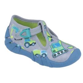 Befado obuwie dziecięce 110P371 niebieskie szare zielone żółte