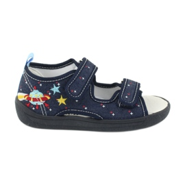American Club American sandałki buty dziecięce wkładka skórzana TEN28 granatowe