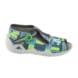 Befado obuwie dziecięce 217P104 niebieskie szare zielone