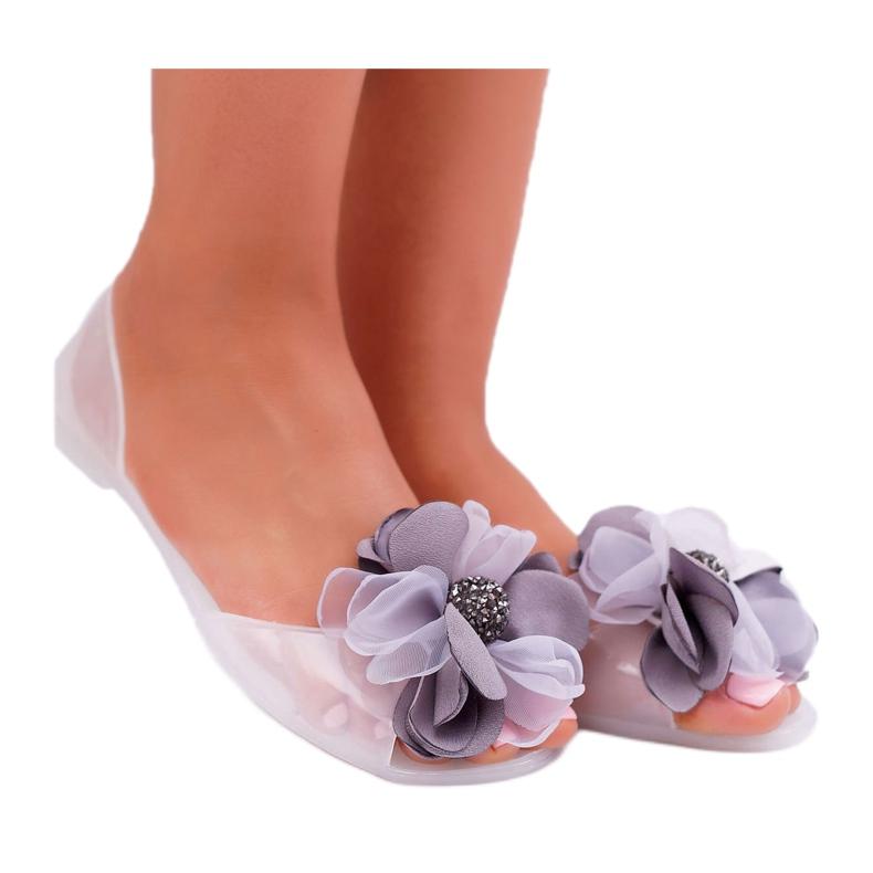 Lu Boo | Gumowe Balerinki Meliski Kwiatki Białe Candela bezbarwne