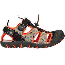 Sandały 4F Jr HJL20 JSAM002 90S czarne pomarańczowe wielokolorowe