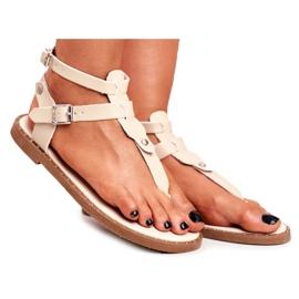Lu Boo Damskie Sandały Beżowe Japonki Gladiatorki Achilla beżowy