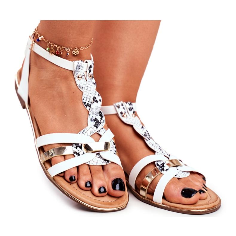 PS1 Damskie Sandałki Eleganckie Białe Wężowa Brooke