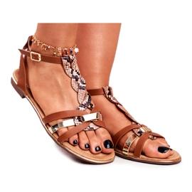 PS1 Damskie Sandałki Eleganckie Brązowe Wężowa Brooke