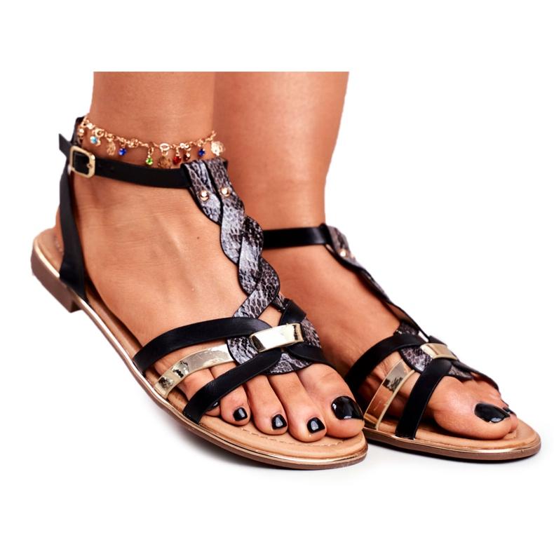 PS1 Damskie Sandałki Eleganckie Czarne Wężowa Brooke