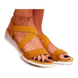 PS1 Sandałki Damskie Na Koturnie Żółte Wsuwane Harper