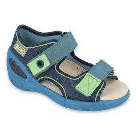 Befado obuwie dziecięce pu 065P142 granatowe zielone
