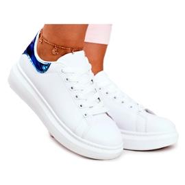 Sportowe Damskie Buty Lu Boo Białe Metaliczne Matilda granatowe