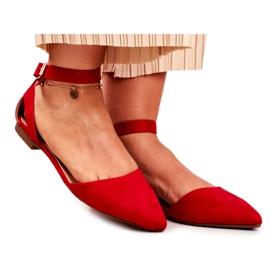 PS1 Baleriny Damskie Płaskie Czerwone Na Pasek W Szpic Allison