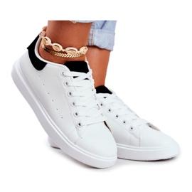 PS1 Sportowe Damskie Buty Białe z Czarnym Zapiętkiem Milly czarne