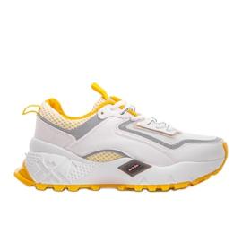 Białe sneakersy sportowe z żółtymi wstawkami RAL-69 żółte