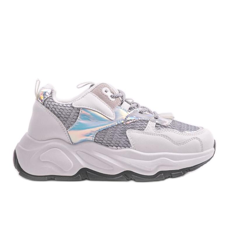 Białe sneakersy sportowe z szarymi wstawkami RAL-63 szare
