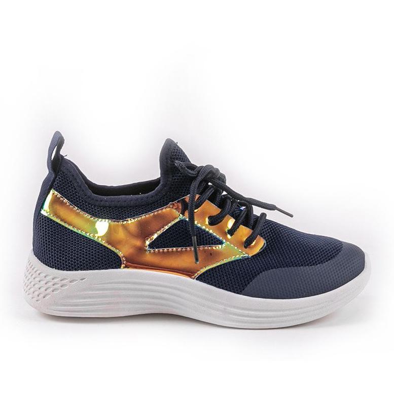 Granatowe obuwie sportowe HB-42 złoty