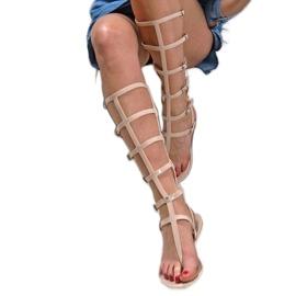 Lu Boo Beżowe Sandałki Wysokie Rzymianki Japonki Harona beżowy