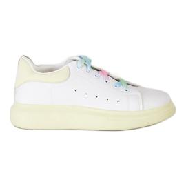 SHELOVET Sneakersy Z Kolorowymi Sznurówkami białe zielone