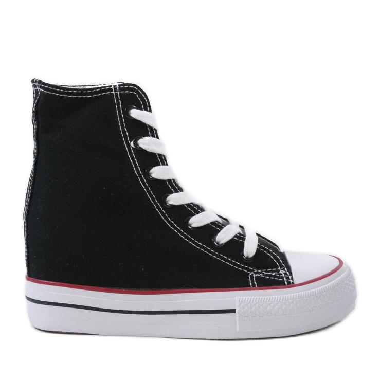 Czarne sneakersy na koturnie sznurowane B706-1