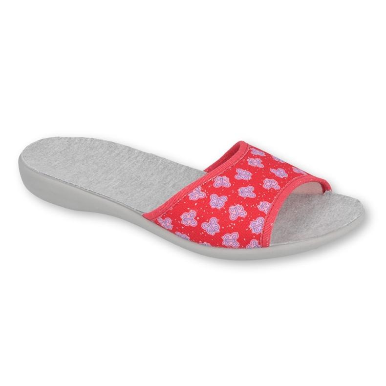 Befado obuwie damskie pu 300D043 czerwone fioletowe szare