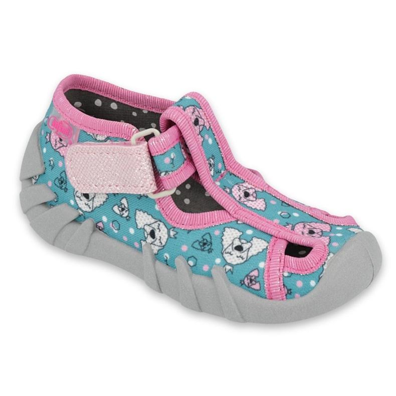 Befado obuwie dziecięce 190P100 niebieskie różowe