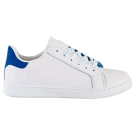 SHELOVET Modne Buty Sportowe białe niebieskie