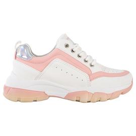 SHELOVET Sneakersy Z Eko Skóry białe różowe