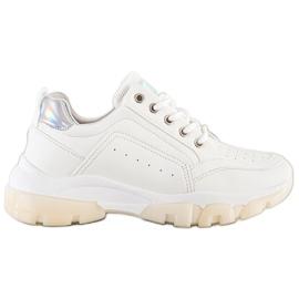 SHELOVET Sneakersy Z Eko Skóry białe