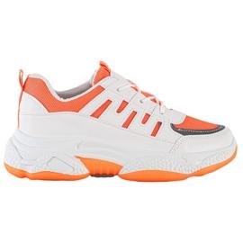SHELOVET Wygodne Sneakersy Z Siateczką białe pomarańczowe