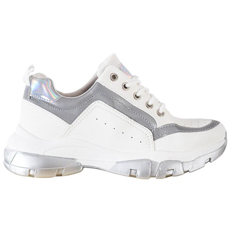 SHELOVET Sneakersy Z Eko Skóry białe szare