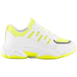 SHELOVET Wygodne Sneakersy Z Siateczką białe żółte