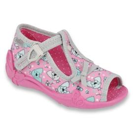 Befado obuwie dziecięce 213P120 różowe szare