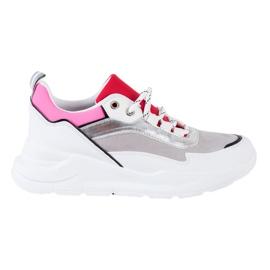 SHELOVET Stylowe Sznurowane Sneakersy białe wielokolorowe