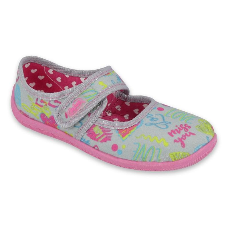 Befado  obuwie dziecięce 945Y430 różowe szare wielokolorowe