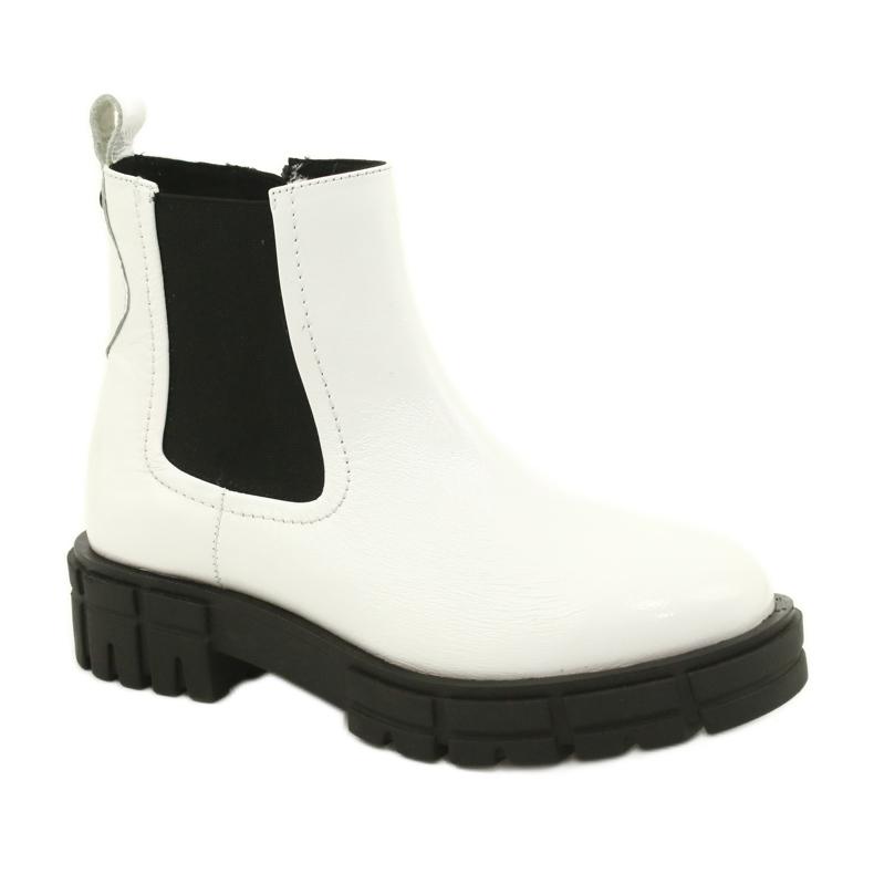 Białe botki damskie Caprice 25428-25 122 white naplak czarne