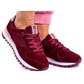 Damskie Sportowe Obuwie Sneakersy Big Star Bordowe GG274522 czerwone