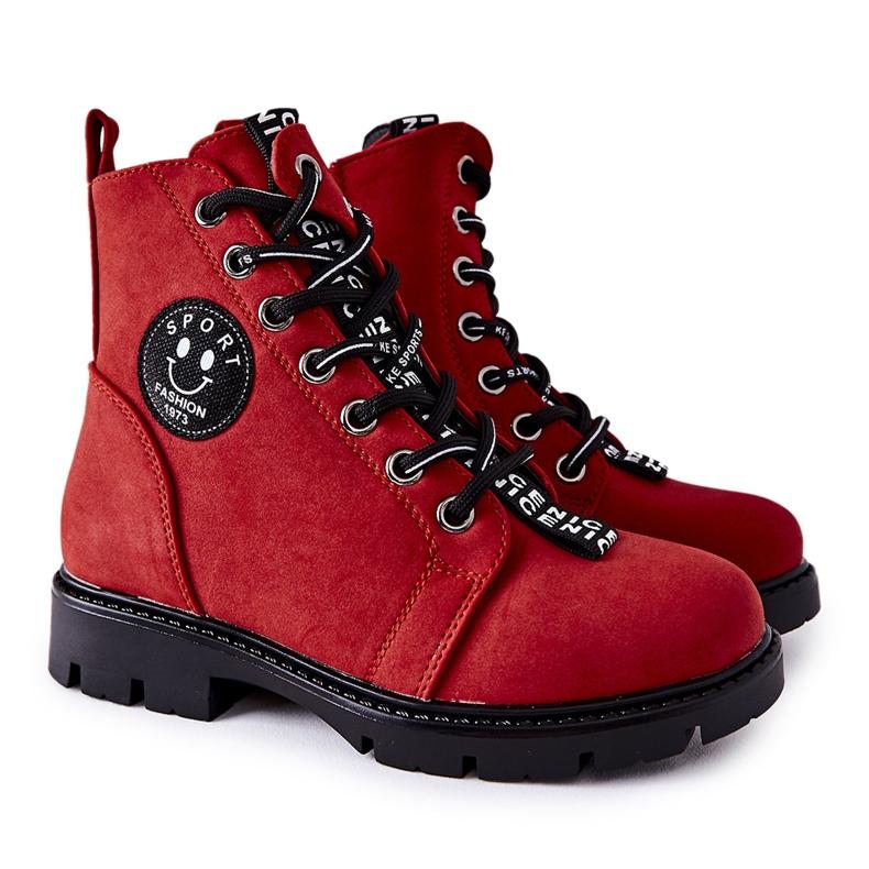 Vinceza Dziecięce Botki Workery Czerwone Mini Aspen
