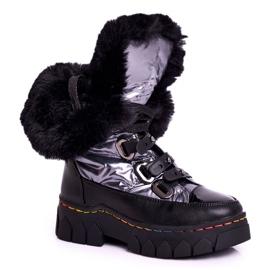 Apawwa Dziecięce Śniegowce Ocieplone Futerkiem Czarno Szare Turismo czarne