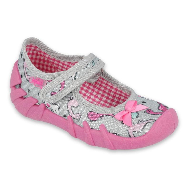 Befado obuwie dziecięce 109P204 różowe srebrny szare