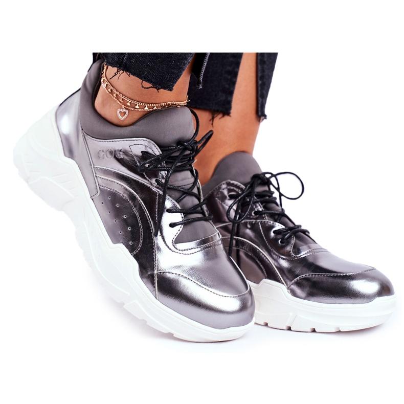 Damskie Sneakersy Goe Skórzane Pewter GG2N3040 czarne
