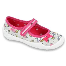 Befado obuwie dziecięce 114X392 różowe srebrny szare