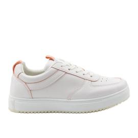 Białe trampki z różowymi wstawkami KK-203