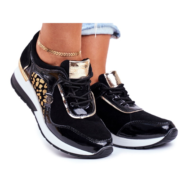 Vinceza Sportowe Damskie Buty Sneakersy Skórzane Czarne 21-7778