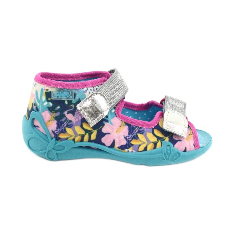 Befado obuwie dziecięce 242P098 niebieskie różowe srebrny