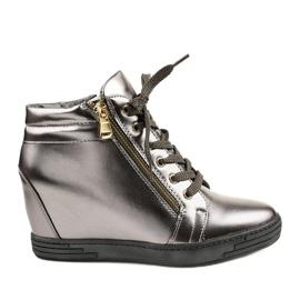 Szare sneakersy ze złotym suwakiem Aqiava