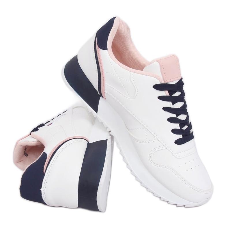 Buty sportowe damskie białe BK938 WHITE/BLUE granatowe